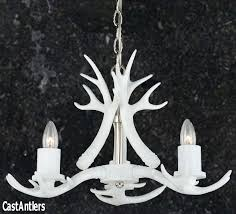 pure white 3 light mini cast antler chandelier