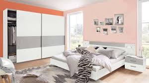 Schlafzimmer Set Komplett Kleiderschrank Bett Angie Weiß Beton