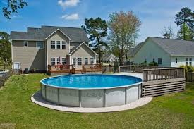 rectangle above ground pool sizes. This Round Above-ground Pool Has A Small Deck On One End, But Other Rectangle Above Ground Sizes