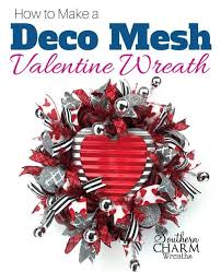 how to make a deco mesh valentine wreath for your door by southern charm wreaths