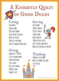 printable knightly good deeds list great post about   printable knightly good deeds list great post about teaching kids kindness connect m d printable and knight