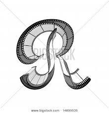 cool letter r filmstrip font front view letter image photo bigstock
