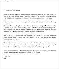 Parent Letter Of Recommendation - Best Template Collection