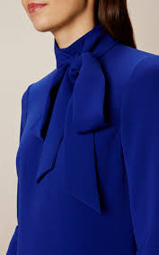 Karen Millen PUSSY BOW DRESS Blue Pinterest