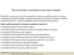 Volunteer Letter Samples Top 5 Volunteer Coordinator Cover Letter Samples