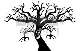 イラストの知りたい ハロウィンお化けの木シルエット素材イラスト