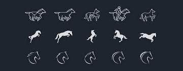 無料素材馬をモチーフにデザインされたシンプルアイコン100個セット