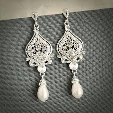 chandelier bridal earrings grace vintage inspired wedding bridal earrings white ivory pearl and rhinestone chandelier wedding chandelier bridal earrings