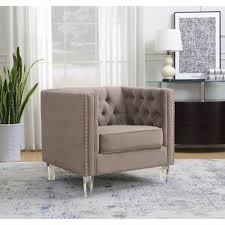 ariel collection contemporary polyester velvet fabric upholstered on tufted silver nailhead accented living room tuxedo arm chair w clear acrylic legs