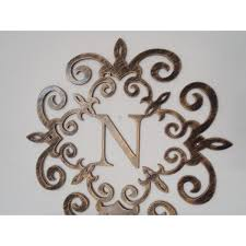 metal letter wall art Family initial Monogram inside a Metal Scroll with N letter