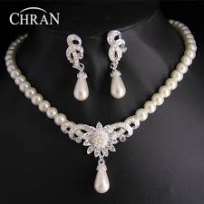 chran rhodium plated crystal necklace brand statement women jewelry whole imitation pearl bridal wedding jewelry sets