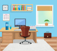 Designer Office Space Classy Interior Office Room Illustration For Design Vector Illustration