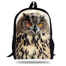 16 inch popular children animal print bag night owl pattern backpack for kids boys girls