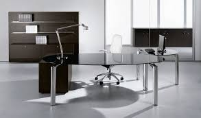 contemporary glass office desk. Glass Office Desk Ideas Using Ellips Black Executive With Silver Metal Legs: Contemporary