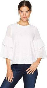 Kensie Womens Doily Lace Tiered Sleeve Top