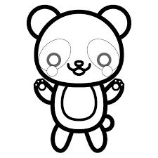 塗り絵に最適な白黒でかわいいパンダの無料イラスト商用フリー オイデ43