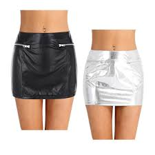 details about women s las fashion faux leather skirt fake zipper pockets con mini skirt