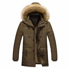 mens warm cotton jacket fur collar thick winter coat outwear hooded parka mens winter jackets and coats