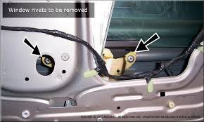 remove the glass from the front door by lifting it up and out outside the car you will need to angle the window to get it out
