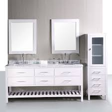 design element london pearl white double sink vanity with white natural marble top common