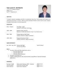 Resume Sample For Fresh Graduate Information Technology