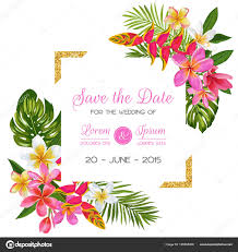 Romantic Date Invitation Template Wedding Invitation Template With Flowers Tropical Floral Save The