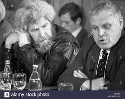 Writers Round Table Writers Boris Mozhayev Left And Vladimir Soloukhin At An English