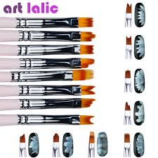 8pcs Lot Smile Moon Shaped Acrylic French Nail Art Brush Set Uv Gel Polish Gradient Color Tips 3d Diy Painting Drawing Liner Pen