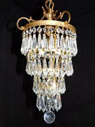 antique brass crystal empire chandelier 2 light wedding cake 30 lead crystals 1906679578