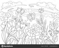 Childrens Kleurplaat Cartoon Glade Met Bloemen In De Natuur Intended