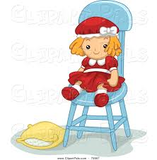 cute pillow clipart. pal clipart of a cute doll toy in chair with pillow on the ground n