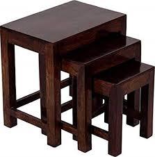 Santosha Decor Sheesham Wood <b>Nesting Table Set</b> of <b>3</b> Stools for ...