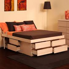 Outstanding Queen Platform Bed With Storage Drawers Saving Space The