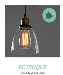 plug in glass shade pendant light
