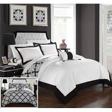 chic home ds2065 us 4 piece floyd black white reversible medallion printed plush hotel collection queen duvet cover set black
