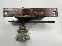 antique glass door knob combination w backplate lock escutcheon for closet 299