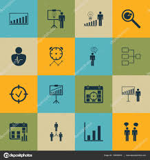Set Of 16 Board Icons Includes Team Meeting Bar Chart