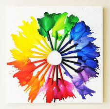 Melted crayon color wheel,