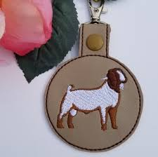 Boer Goat Embroidery Designs Male Boer Goat Snap Tab Key Fob In The Hoop Embroidery