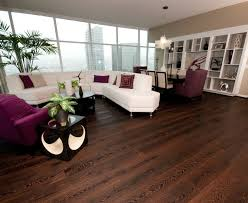 dark wood floor spacious open shelves purple couch white sofa customized pot table