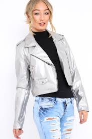 silver metallic leather jacket adrienne 420419nzys womens clothing best ping websites