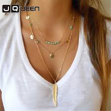 2019 handmade gold silver color long leaf pendant necklace multilayer jewelry simple green stone beads sequins necklace woman jewelry from chunyushi