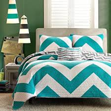 Amazon.com: 4 Pc Zig Zag Reversible Chevron Bedspread Quilt with ... & 4 Pc Zig Zag Reversible Chevron Bedspread Quilt with Matching Shams and  Cushion pillow - Aqua Adamdwight.com