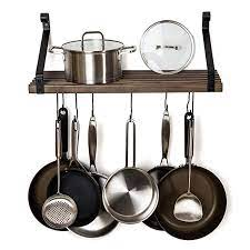 pot pan rack with solid wood shelf