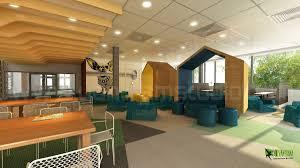 office cafeteria design. 3D-Office-Cafe-Area-Interior-render-Design-ideas Office Cafeteria Design \
