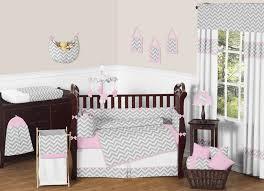 grey and white chevron baby bedding design