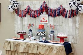sweet table from a western themed cub scout blue gold banquet via kara s party ideas