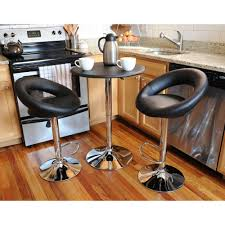 amerihome retro style bar table set in black with padded vinyl chair 3 piece bsset30 the home depot
