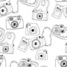 かわいい手描きの古いものと新しいカメラ ストックベクター