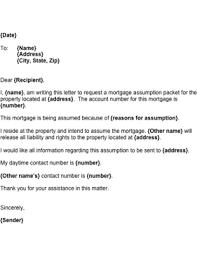 Mortgage Assumption Letter Template